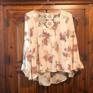 Xhilaration floral blouse with lace back